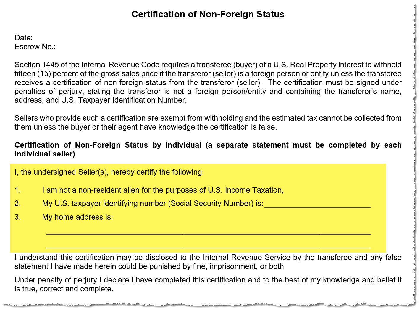Certification of Non-Foreign Status